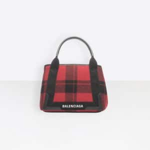 Balenciaga Multicolor Wool Check Navy Cabas S Bag