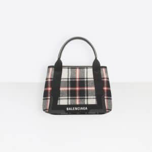 Balenciaga Noir/Multicolor Wool Check Navy Cabas S Bag