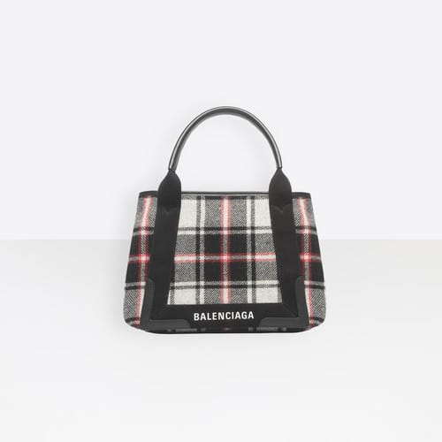 Balenciaga Noir Multicolor Wool Check Navy Cabas S Bag 90aa0ef550c82