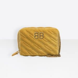Balenciaga Yellow Quilted Velvet BB Reporter XS Bag