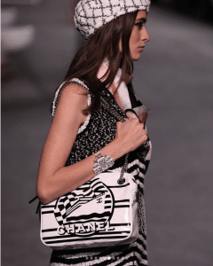 Chanel White/Black Printed Shoulder Bag - Cruise 2019