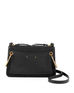 Chloe Black Leather/Suede Roy Mini Shoulder Bag