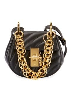 Chloe Black Quilted Drew Bijou Nano Bag