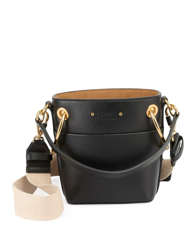 cf783a4f2d52 Chloe Black Smooth Calf Roy Small Bucket Bag