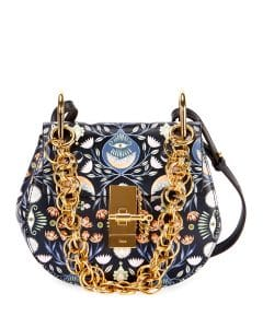 Chloe Blue Artistic Print Drew Bijou Mini Shoulder Bag