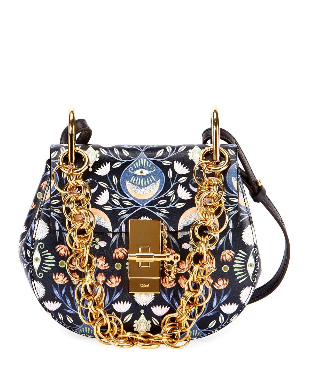 Chloe Blue Artistic Print Drew Bijou Mini Shoulder Bag
