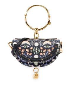 Chloe Blue Artistic Print Nile Minaudiere Clutch Bag