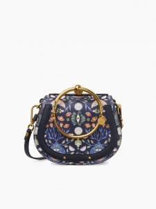 Chloe Blue Artistic Print Nile Small Bracelet Bag