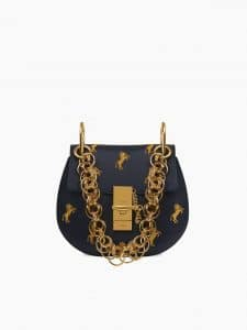 Chloe Blue Little Horses Embroidered Drew Bijou Mini Bag