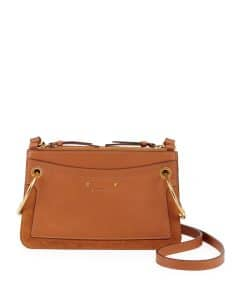 Chloe Brown Leather/Suede Roy Mini Shoulder Bag