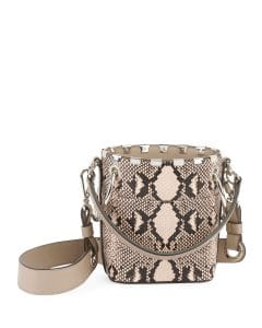 Chloe Gray Python Print Roy Mini Bucket Bag