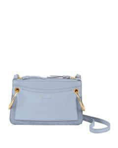 Chloe Light Blue Leather/Suede Roy Mini Shoulder Bag