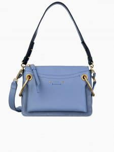 Chloe Light Blue Leather/Suede Roy Small Bag
