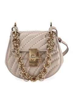 Chloe Light Gray Studded Drew Bijou Mini Bag