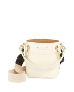 Chloe White Smooth Calf Roy Mini Bucket Bag
