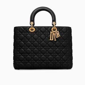 Dior Black Calfskin Large Lady Dior Bag