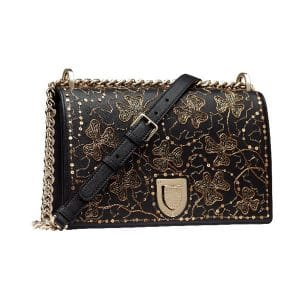 Dior Black Clover Embroidered Diorama Bag