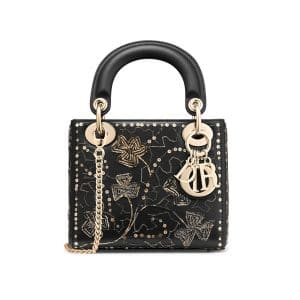 Dior Black Clover Embroidered Mini Lady Dior Bag