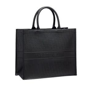 Dior Black Embossed Book Tote Bag