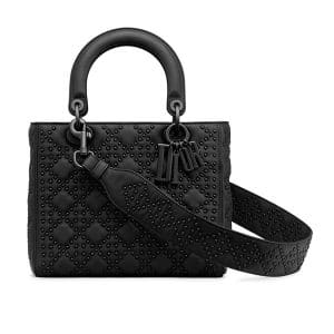Dior Black Studded Medium Lady Dior Bag