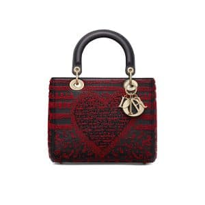 Dior Black/Red Embroidered Medium Lady Dior Bag
