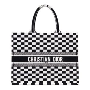 Dior Black/White Checkered Embroidered Canvas Book Tote Bag