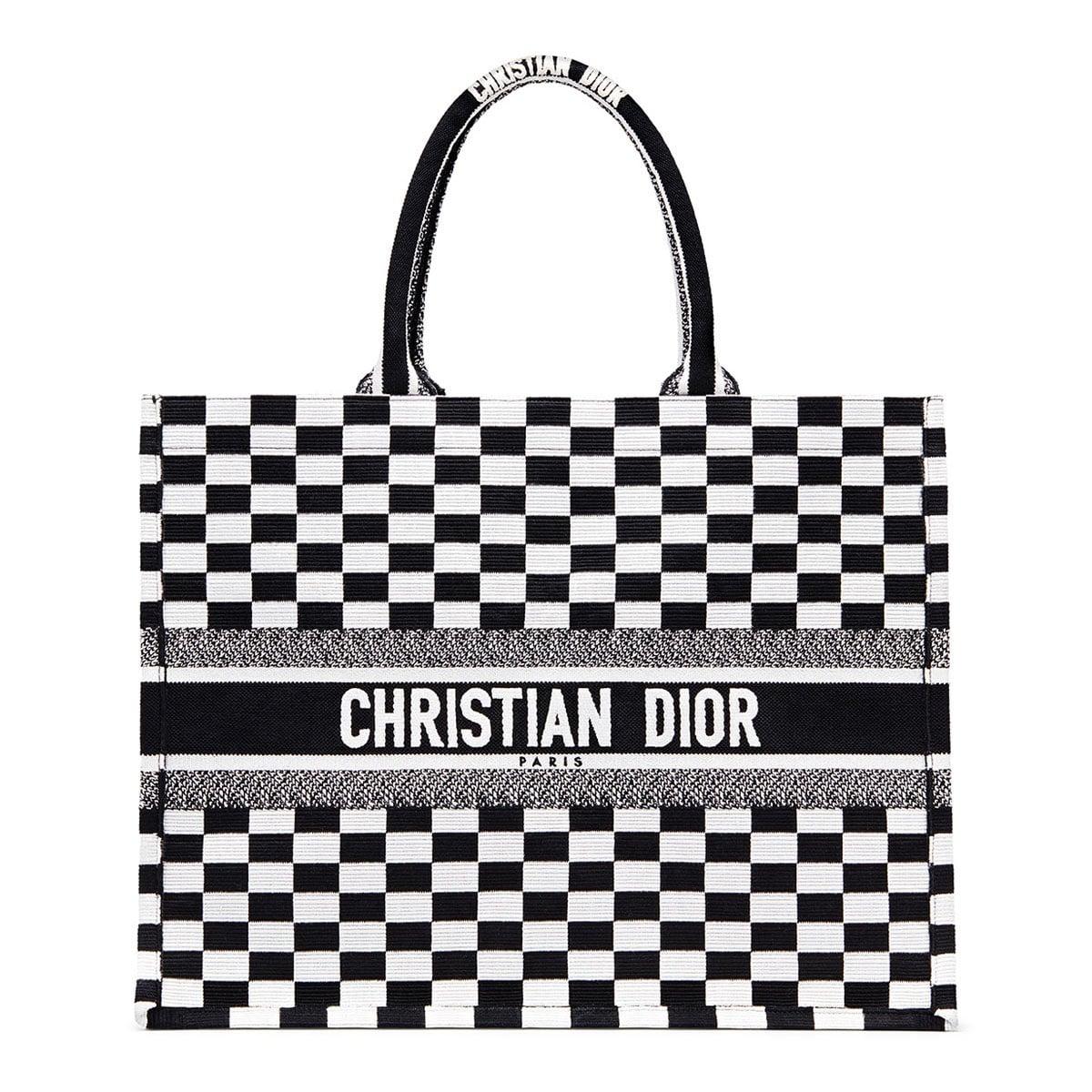 Dior Black White Checkered Embroidered Canvas Book Tote Bag a89fc213c25e9