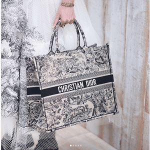 Dior Black/White Embroidered Book Tote Bag - Cruise 2019