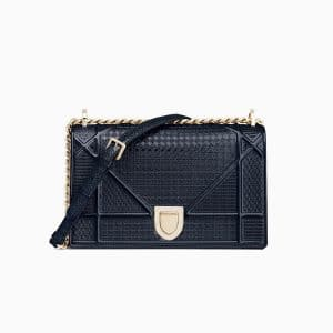 Dior Blue Metallic Calfskin Diorama Bag