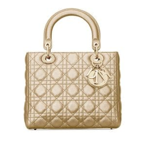 Dior Gold Metallic Medium Lady Dior Bag
