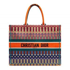 Dior Multicolored Embroidered Book Tote Bag