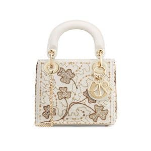 Dior Off-White Clover Embroidered Mini Lady Dior Bag