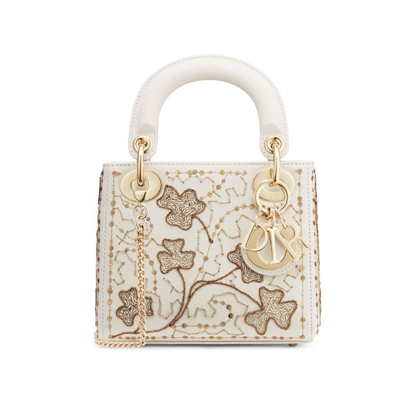 Dior Off White Clover Embroidered Mini Lady Bag