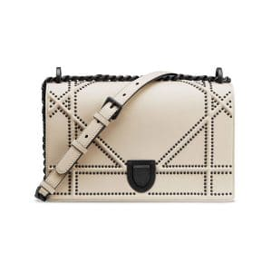 Dior Off-White Studded Medium Diorama Bag