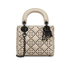 Dior Off-White Studded Mini Lady Dior Bag