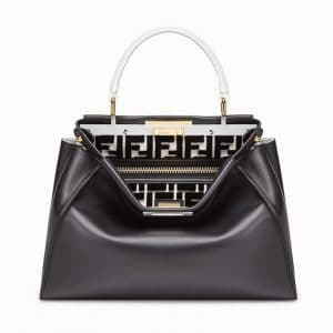 Fendi Black/White FF Reloaded Peekaboo Regular Bag
