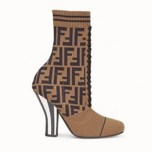 Fendi Brown FF Reloaded Fabric Ankle Boots