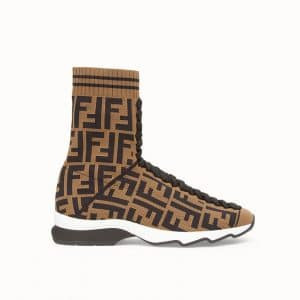 Fendi Brown FF Reloaded Fabric Sneaker Boots