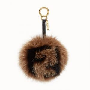Fendi Brown FF Reloaded Pom-Pom Charm