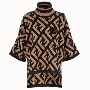 Fendi Brown FF Reloaded Wool Poncho
