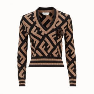 Fendi Brown FF Reloaded Wool Pullover