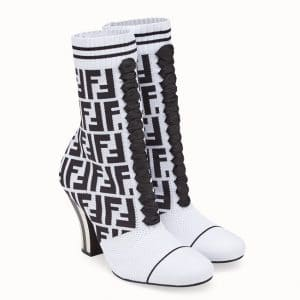 Fendi White FF Reloaded Fabric Ankle Boots