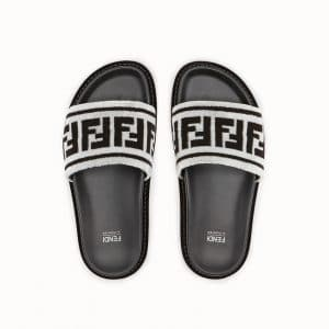 Fendi White FF Reloaded Fabric Slides