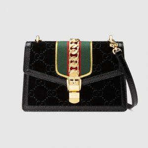 Gucci Black GG Velvet Sylvie Small Shoulder Bag