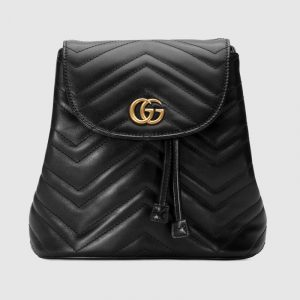 Gucci Black Matelassé GG Marmont Backpack Bag