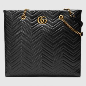 Gucci Black Matelassé GG Marmont Large Tote Bag