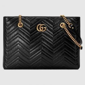Gucci Black Matelassé GG Marmont Medium Tote Bag