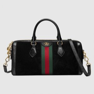 Gucci Black Suede Ophidia Medium Boston Bag
