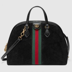 Gucci Black Suede Ophidia Medium Top Handle Bag