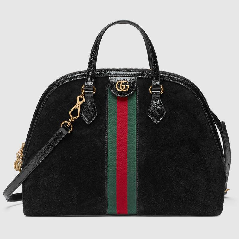 6cc0742562b Gucci Black Suede Ophidia Medium Top Handle Bag